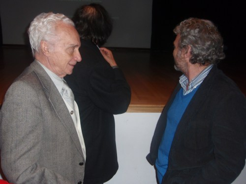 Sergio Cabrera con su padre, en el CCEE Reyes Católicos