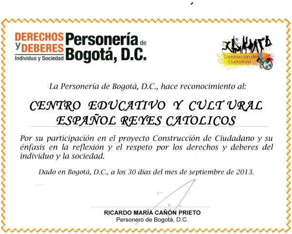 CCEE Reyes Católicos. Personeria de Bogotá
