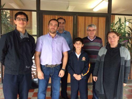 Olímpicos en Matemáticas, del CCEE Reyes Católicos junto al Profesorado del Departamento de Matemáticas y al Rector
