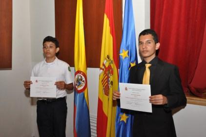 Ganadores del concurso literario provenientes de Cartagena de Indias, Mario Andrés González y Luis Felipe Navarro Rincón.