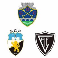 Escudos do Chaves (no alto), Farense (à esquerda) e Acadêmico de Viseu (à direita).
