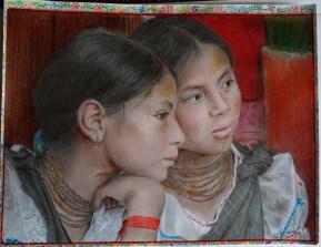 Niñas de Otavalo, Lápices de colores. 2013 (Javier Muñoz S)