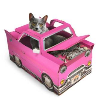 Caja de juegos para Gatos modelo descapotable rosa