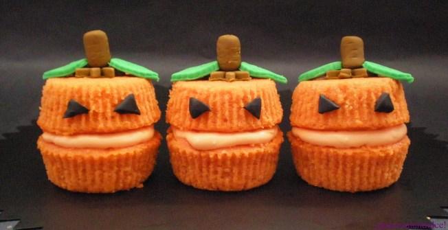Cupcakes para Halloween de calabaza