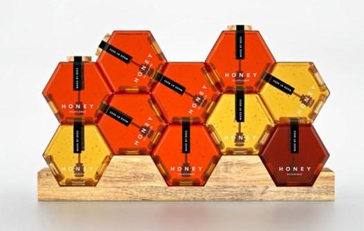 El Packaging con Mejor Diseño - Miel con forma de Panel de Abejas