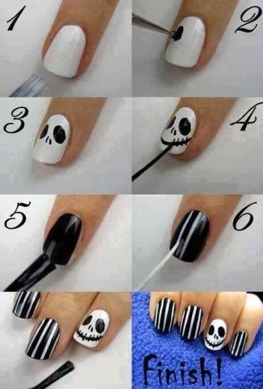 Uñas para Halloween estilo Tim Burton
