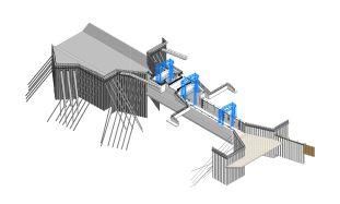 Teilmodell Massivbau mit Stahlwasserbau