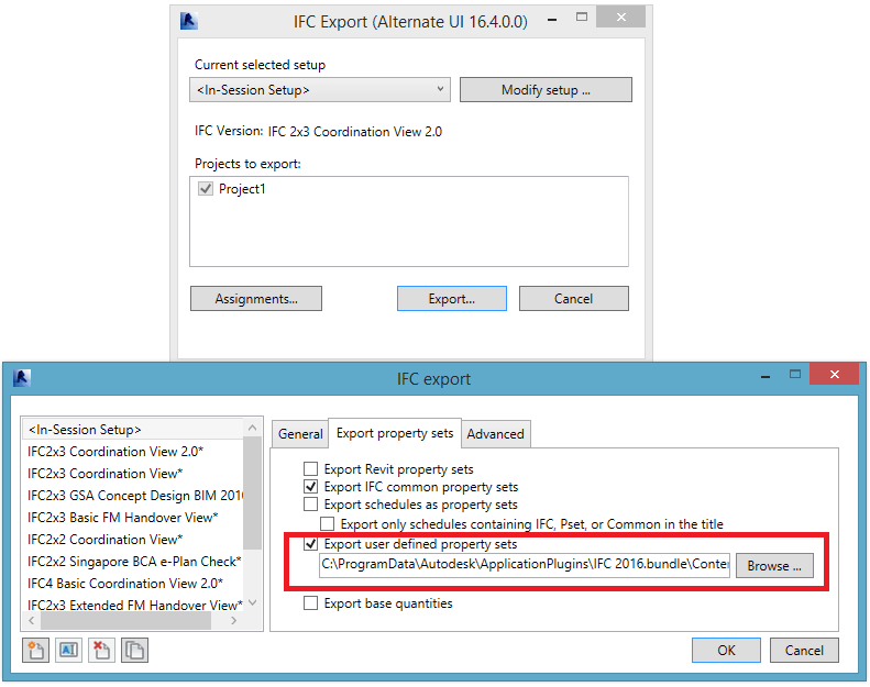 Exporting IFC - Creating User Defined IFC Property Sets