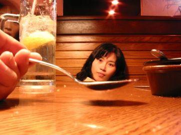 Korean face in a spoon