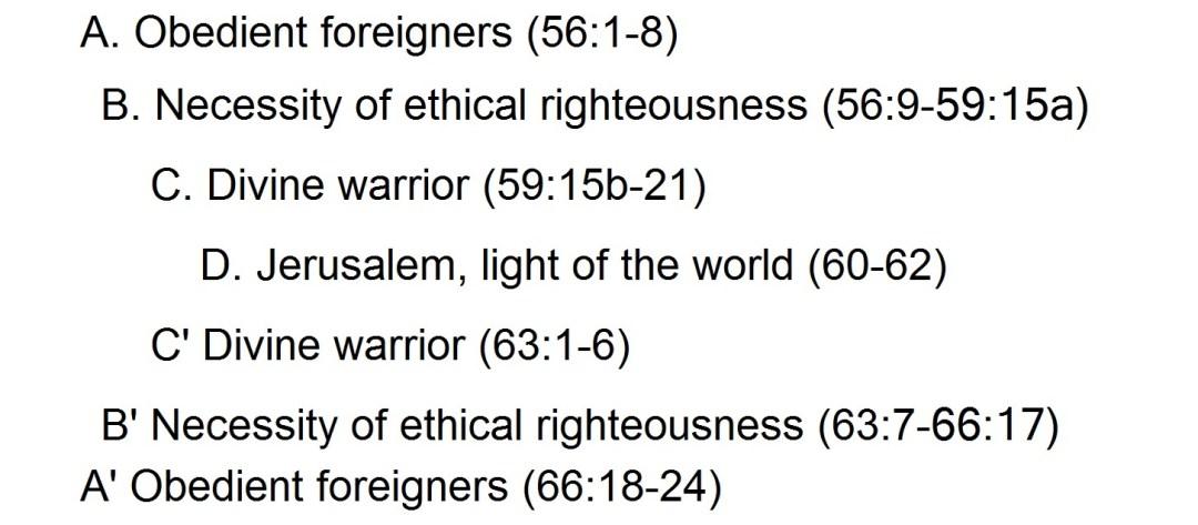 Rev. Justin Lee Marple, chiasm of Isaiah 56-66 proposed