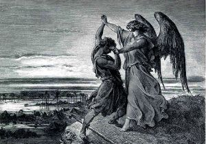 Jacob Wrestles with the Angel by Gustave Doré available from https://en.wikipedia.org/wiki/Jacob_wrestling_with_the_angel#/media/File:024.Jacob_Wrestles_with_the_Angel.jpg