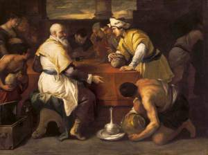 Receiving His Portion by Luca Giordano, 1685 (Parable of the Prodigal Son) available on wikipedia, for sermon on Father's joy