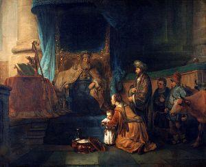 """Gerbrand van den Eeckhout - Anna toont haar zoon Samuël aan de priester Eli (""""Hannah presenting her son Samuel to the priest Eli"""") Available from wikipedia"""