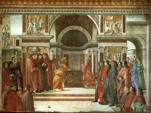 Cappella tornabuoni frescoes in Florence. Annuncio dell'angelo a San Zaccaria. Wikipedia