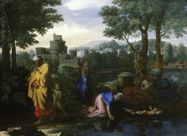 The Exposition of Moses by Nicolas Poussin in a basket that looks like a miniature ark