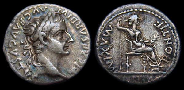 This is the denarius of Tiberius Caesar. Sermon on testing Jesus.