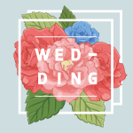 Illustration of flowers with the word wedding