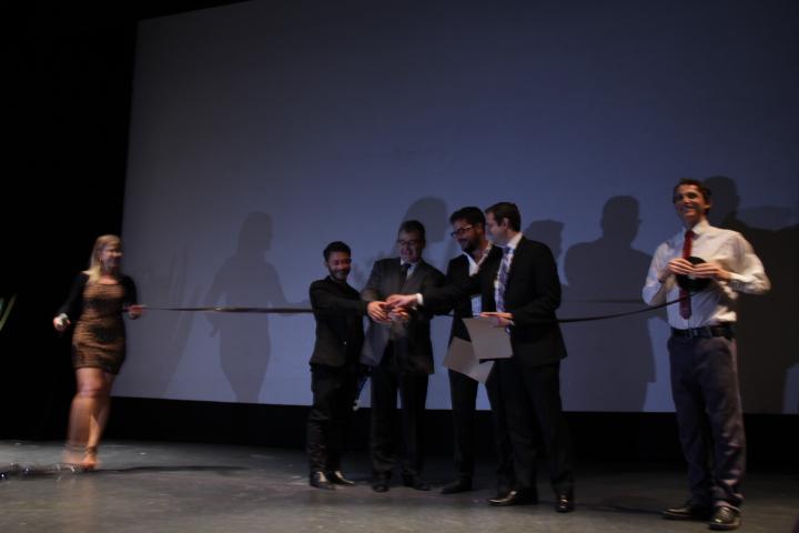 Corte de listón inaugural: Moïs Roditi, Mark Liwerant, Saúl Masri y Benjamín Wlodawer