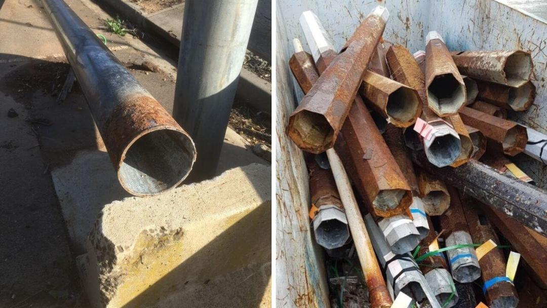 Corrosion below ground steel pole examples