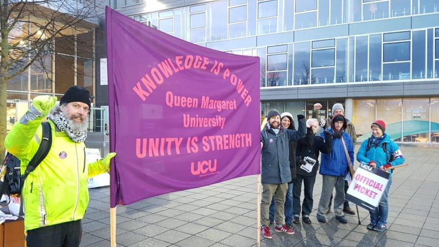 Queen Margaret Uni Workers Strike Against Cuts