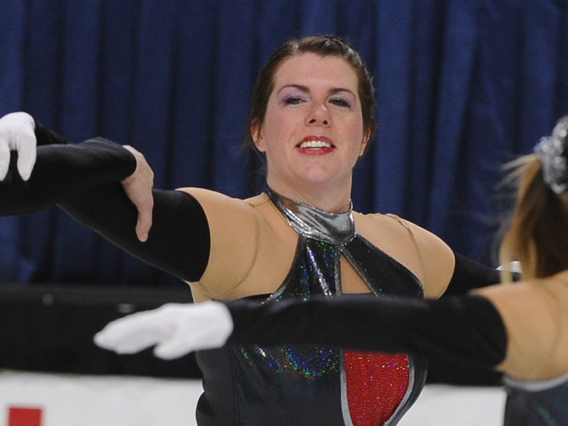 A Revolution Ice Unity adult synchronized skater loves competing on ice.