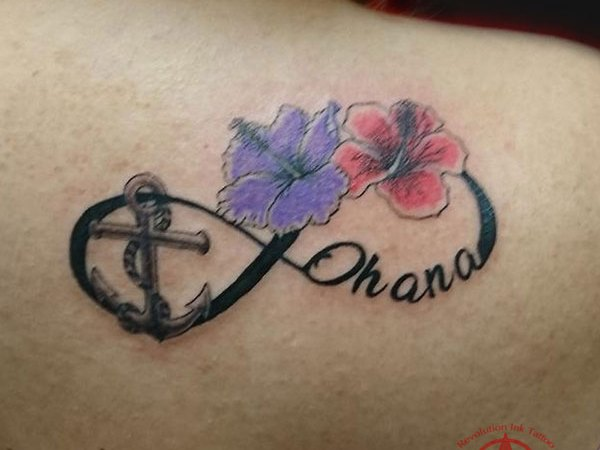anchor and flower eternity tattoo by Dana
