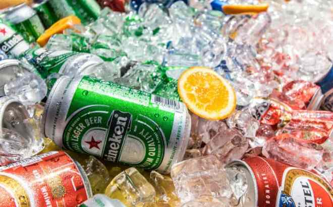 aluminum beer cans on ice