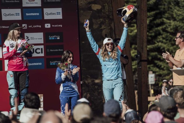 Rachel Atherton celebrates at UCI DH World Cup in Mont Sainte Anne, Canada
