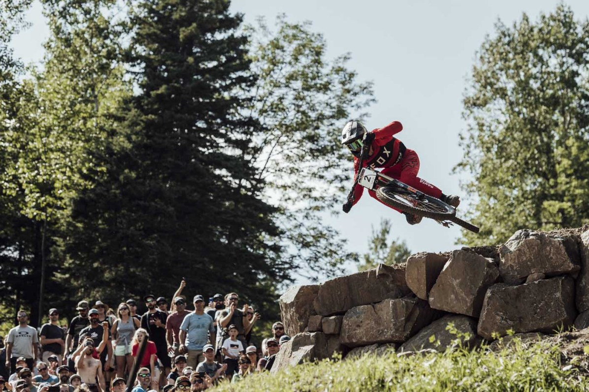 Loris Vergier performs at UCI DH World Cup in Mont Sainte Anne, Canada on August 11th, 2018 // Bartek Wolinski/Red Bull Content Pool // AP-1WJE9HQPS2111 // Usage for editorial use only // Please go to www.redbullcontentpool.com for further information. //