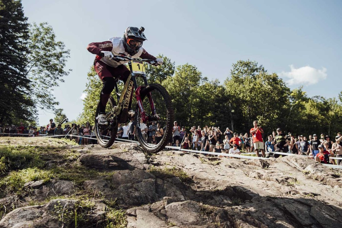 Amaury Pierron performs at UCI DH World Cup in Mont Sainte Anne, Canada on August 11th, 2018 // Bartek Wolinski/Red Bull Content Pool // AP-1WJE9J7FW2111 // Usage for editorial use only // Please go to www.redbullcontentpool.com for further information. //