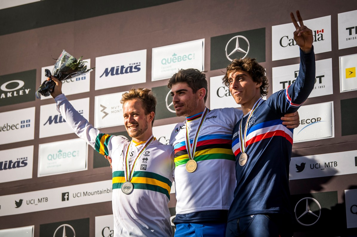 The men's podium at the UCI MTB World Championships 2019; Troy Brosnan, Loic Bruni and Amaury Pierron. // Nathan Hughes/ Red Bull Content Pool