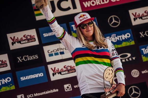 Valentina Holl seen at UCI DH World Cup in Val di Sole, Italy on August 3rd, 2019 // Bartek Wolinski/Red Bull Content Pool // SI201908030551 // Usage for editorial use only //