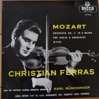 "LW 5272 Mozart Violin Concerto No. 3 / Christian Ferras / Munchinger 10"" LP"