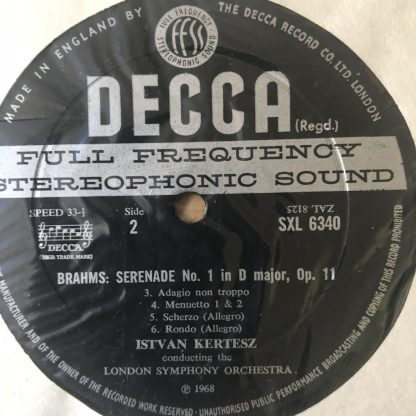 SXL 6340 Brahms Serenade No. 1 in D, Op. 11 / Kertesz / LSO W/B