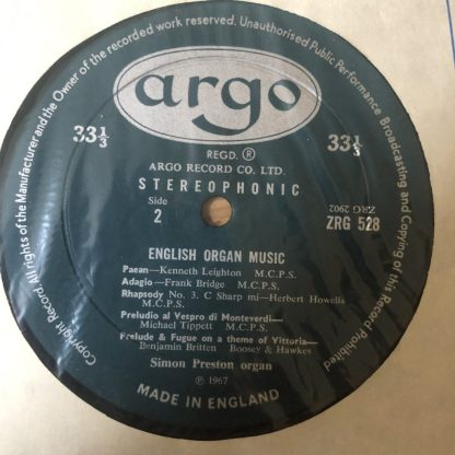 ZRG 528 English Organ Music / Simon Preston