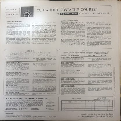 TTR 101 Shure Trackability Test Record For Stereo Cartridges