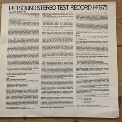HFS75 HI-FI Sound Stereo Test Record