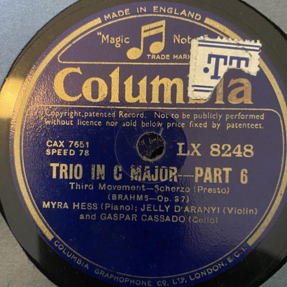 LX 8246/49 Brahms Trio in C / Hess / Cassado / D'Aranyi