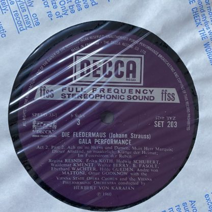 SET 201/2/3 Strauss Die Fledermaus / Karajan etc. 3 LP box set