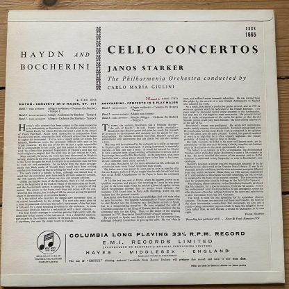 33CX 1665 Haydn / Boccherini Cello Concertos / Starker / Giulini B/G
