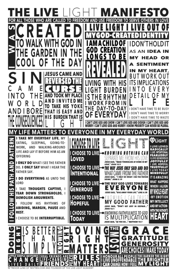 the live light manifesto - I was created to walk with God