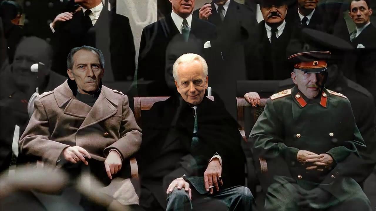 image retouchée de la célèbre conférence de Yalta durant laquelle Churchill, Roosevelt et Staline ont conversé, détournée par Duck