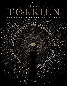 Couverture de Tolkien : une couverture noire sur laquelle est illustrée l'oeil de Sauron et sa tour encerclés par l'écriture qu'il y a de gravé l'anneau unique