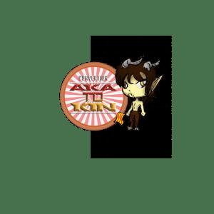 logo auquel Liuga Esquisses a rajouté un personnage manga, un jeune homme brun torse nu