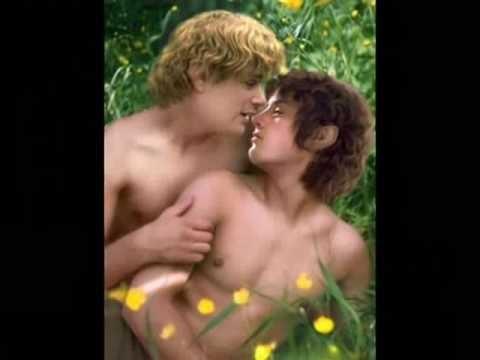 Image suggestive de Sam et Frodon dans un décor champêtre