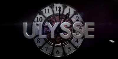 Logo d'Ulysse : Ulysse écrit devant une vieille horloge