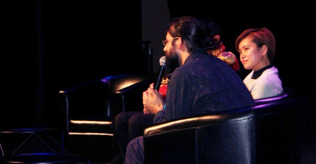 les membres de la Gazette du sorcier rencontrés lors du Bal des Sorciers à Béziers, sur scène avec Katie Lung