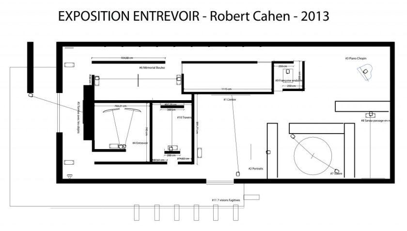 """Fig.1 : Premier projet non réalisé pour la scénographie de l'exposition « Entrevoir. Robert Cahen », 2013. """"droits réservés Pixea Studio-Thierry Maury"""""""