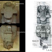 """""""Reconstructing"""" with photographs and carefully executed drawings of the imposing character (Monument 215) standing on top of the monster bat """"capital"""" of the column-sculpture (Monument 217). The fragments of Stele 53 and 61 fitted with the remains of the column, thus recovering more of the ancient texts at its sides. All together it makes a monumental column-sculpture of at least 2.30m in height, and in every sense a historic landmark at the ancient city Tak'alik Ab'aj."""