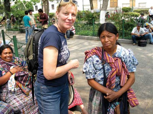 The author in Antigua's Central Park practicing her newly-learned second language
